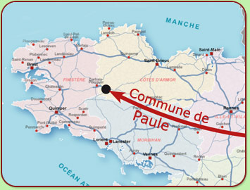 Carte de situation de la commune de Paule
